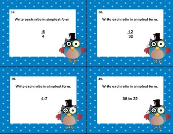 Writing Ratios In Simplest Form-CCSS.MATH.CONTENT-40 Task Cards-Grade 6 Math