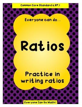 Writing Ratios Practice:  Homework or Worksheets