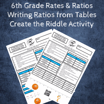Writing Ratios from Tables Create the Riddle Activity