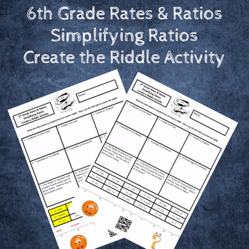Writing Ratios in Simplest Form Create a Riddle Activity