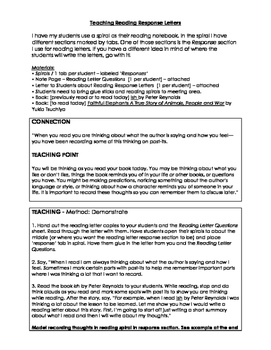 Reading Response Letters: How to teach them and examples