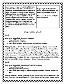 Writing Realistic Fiction Unit (Leo Lionni and Kevin Henkes as Mentor Authors)