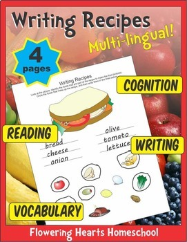 Writing Recipes Multi-Language Comprehension Worksheets