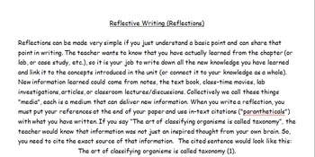 Writing Reflections, Aligned with Common Core Standards, Rubric Included