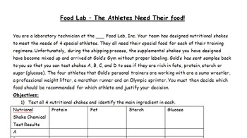 "Writing Reflections with ""Food Lab"" Biomolecule/O Chem Activity, with Rubric"