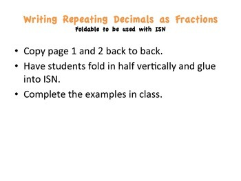 Writing Repeating Decimals as Fractions Foldable.