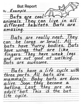 Writing - Report on Bats, Spiders, or Owls - Halloween