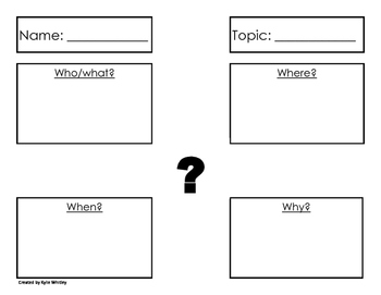 Writing Research Graphic Organizer