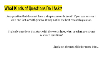 Writing Research Questions Slideshow