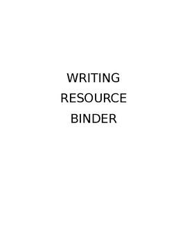 Writing Resource Binder