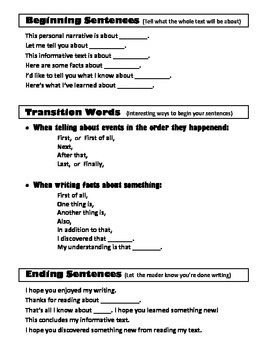 Writing Resource: Introductory/Concluding Sentences and Transition Words
