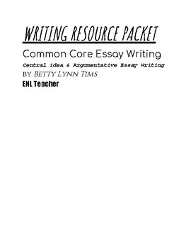 Writing Resource Packet