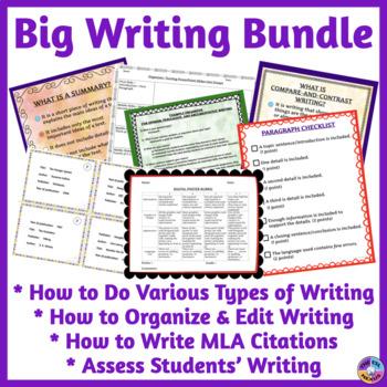 Writing Resources BUNDLE: Organizing, Editing & Citing Writing, Types of Writing