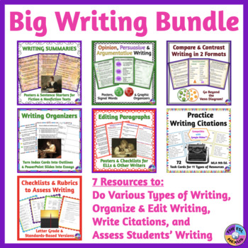 Writing Resources BUNDLE: Organizing, Editing & Citing Writing, Types of Writing