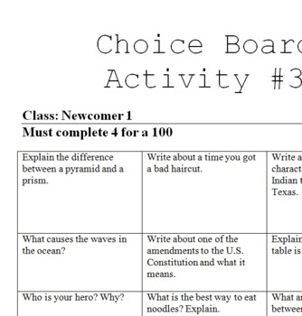 Writing Response Choice Board #3