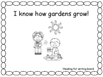 Writing Response Sheets for I know How Gardens Grow, Unit 5, Week 1, Wonders