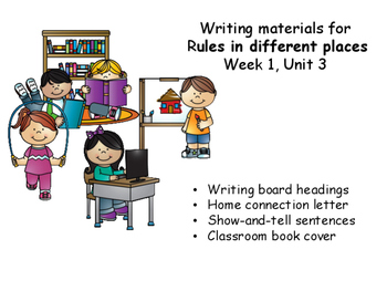 Writing Response Sheets for Rules in Different Places, Unit 3, Week 1. Wonders