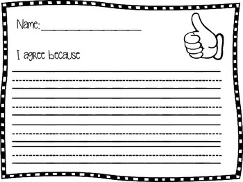Writing Response Thumbs Up Thumbs Down Support your answer