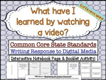 Writing Response to Videos - Common Core CCSS