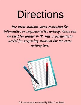 Writing Review Stations