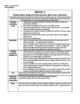 Lucy Calkins Writing Summary Grade 1, Unit 3, Writing Reviews