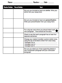 Writing: Revising and Editing Checklist for Expository and Descriptive Writing