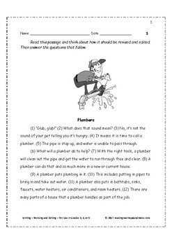 Writing - Revising and Editing - For Use in Grades 3, 4, or 5