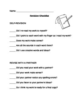 Writing Revision Checklist