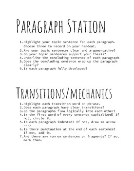 Writing Revision Stations
