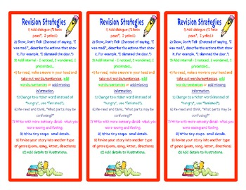 Writing- Revision Strategies Packet (Poster & Bookmarks)