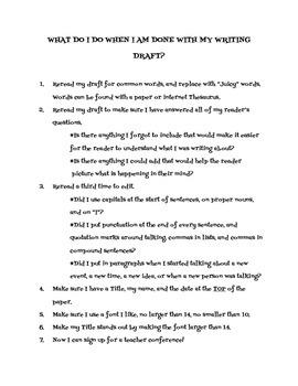 Writing Revision and Editing Checklist
