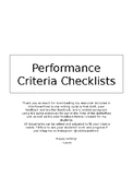 Writing Revisions and Peer Feedback and Performance Criteria Checklists