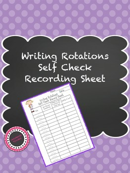Writing Rotations Self Check Recording Sheet