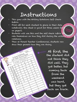 Writing Rotations Self Check Recording Sheet