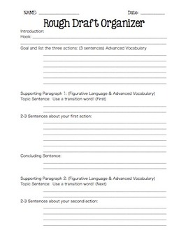 Writing: Rough Draft Organizer for Expository and Descript