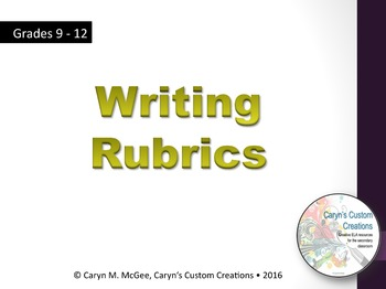 Writing Rubrics (ELA/Common Core Aligned)