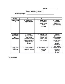 Writing Rubric for Daily writing