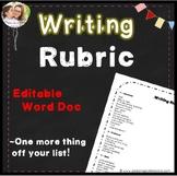 Writing Rubric 2nd, 3rd, 4th, 5th, 6th grade