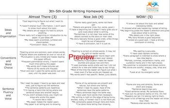 Writing Rubric 3-5