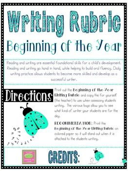 Writing Rubric- Beginning of the Year
