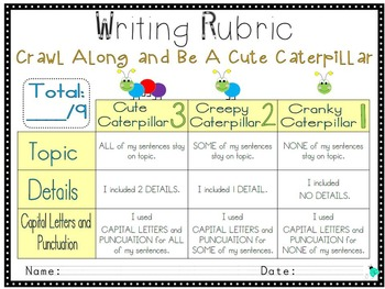 Writing Rubric- Beginning of the Year