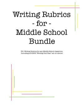 Writing Rubric Bundle Megapack for Middle School
