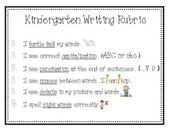 Kindergarten Writing Rubric and Posters