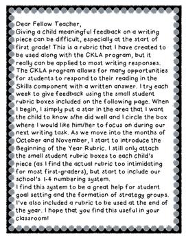 Writing Rubric- Reader Response (CKLA)