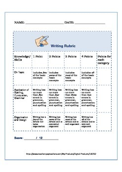 Writing Rubric Formative Assessment
