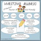 Writing Rubric: Teacher & Kid Friendly D'Nealian