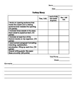 Writing Rubric and Graphic Organizer: TURKEYS!