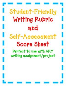 Writing Rubric and Self-Evaluation Score Sheet Kid-Friendly Easy Language