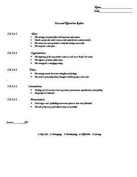 Writing Rubric for Grading or Scoring a Personal Narrative
