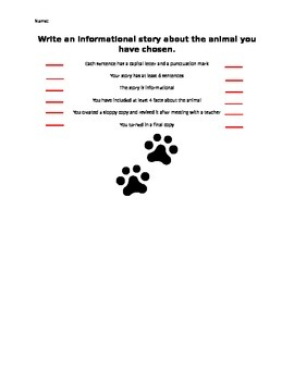 Writing Rubric for Informational Animal Writing